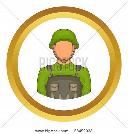 Soldier vector icon in golden circle, cartoon style isolated on white background