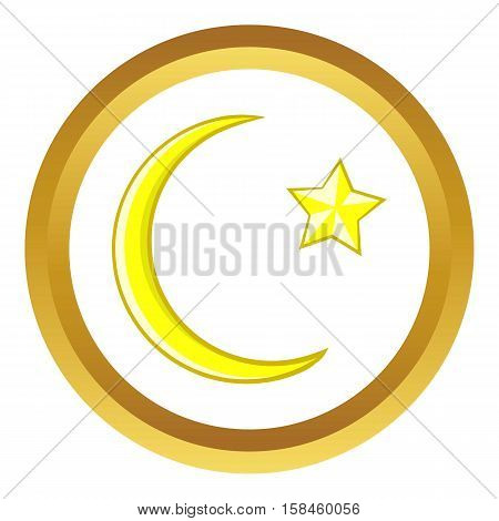 Crescent and star cartoon vector icon in golden circle, cartoon style isolated on white background