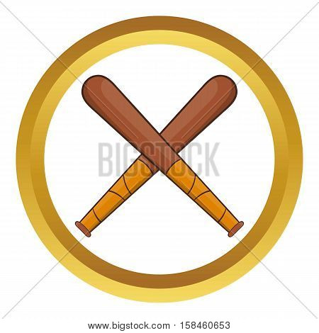Crossed baseball bats vector icon in golden circle, cartoon style isolated on white background