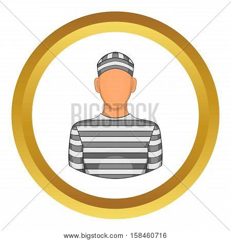 Prisoner vector icon in golden circle, cartoon style isolated on white background