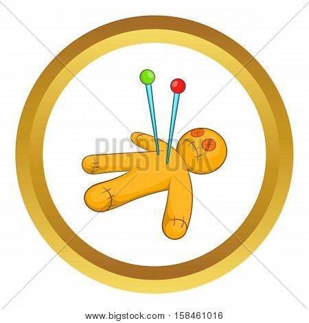 Voodoo doll vector icon in golden circle, cartoon style isolated on white background