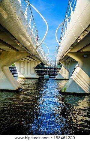 Modern Draw Bridge at Zaandijk over the Zaan River in the Netherlands