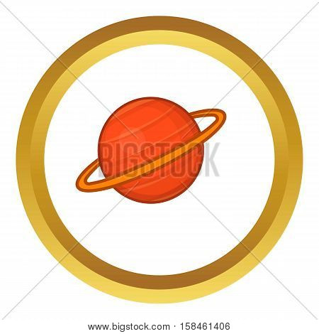 Saturn vector icon in golden circle, cartoon style isolated on white background