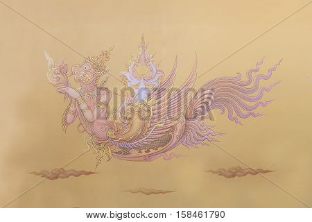 Chiang Rai THAILAND - November 132016: Mural paintings inside the Famous white temple Wat Rong Khun Chiang Rai province northern Thailand/ Chiang Rai province northern Thailand. Buddhists to learn the culture and their implementation of painting.