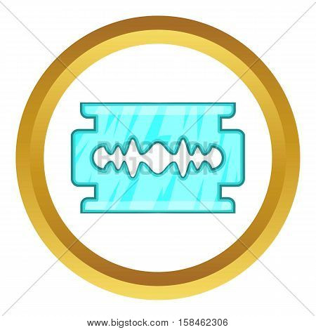 Blade vector icon in golden circle, cartoon style isolated on white background
