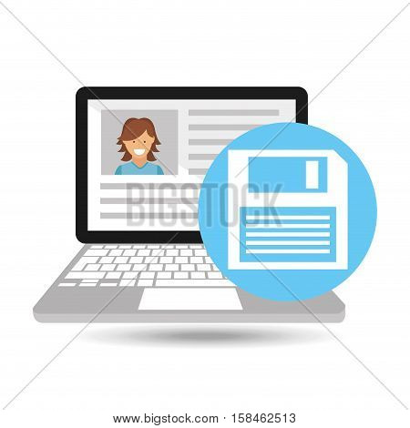 laptop social profile floppy disk icon vector illustration eps 10