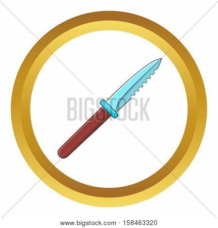 Steel knife vector icon in golden circle, cartoon style isolated on white background