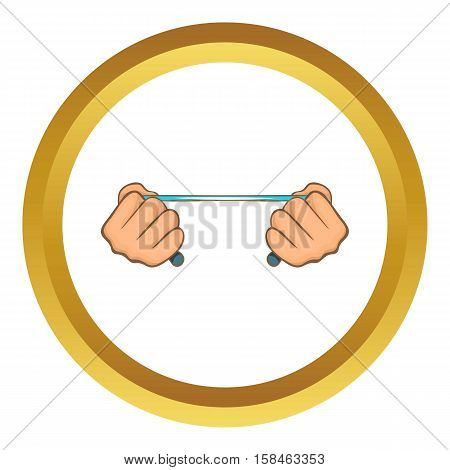 Rope in hands vector icon in golden circle, cartoon style isolated on white background