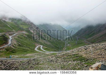 Road in Sichuan of ganzi balangshan, China