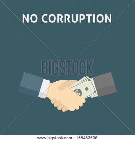 Flat Design of Handshake with money. Corruption Concept Illustration