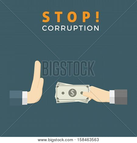 Stop Corruption Illustration, Businessman hand refusing an offering of money from another person