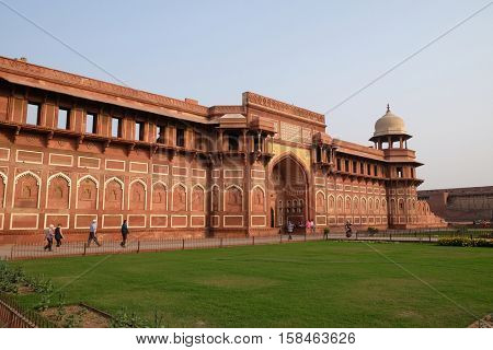 AGRA, INDIA - FEBRUARY 14 : Red Agra Fort in Agra. Uttar Pradesh, UNESCO World heritage site, India on February 14, 2016.