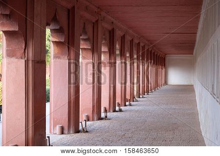AGRA, INDIA - FEBRUARY 14 : Columns in Agra Fort, UNESCO World heritage site in Agra. Uttar Pradesh, India on February 14, 2016.