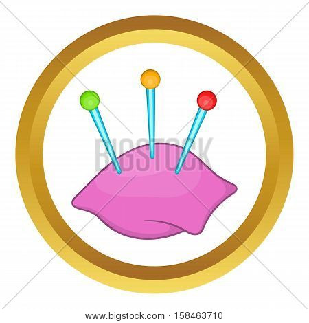 Sewing pins and pin cushion vector icon in golden circle, cartoon style isolated on white background