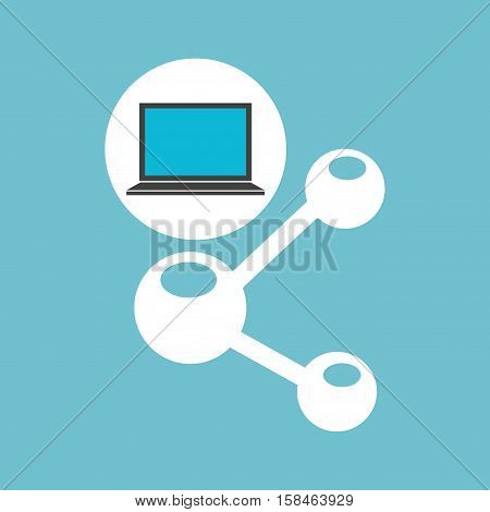 social media laptop sharing icon vector illustration eps 10
