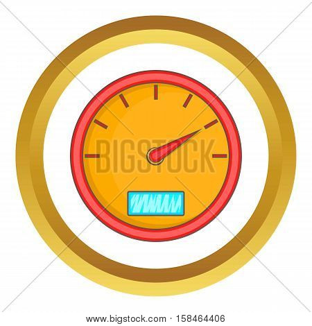 Speedometer vector icon in golden circle, cartoon style isolated on white background