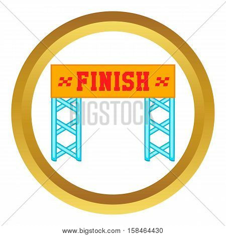 Finish race gate vector icon in golden circle, cartoon style isolated on white background