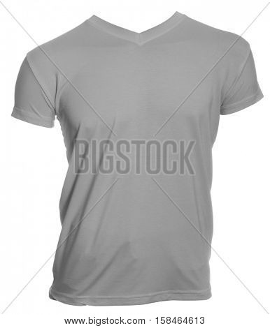 Grey T-Shirt on a mannequin isolated on a white background