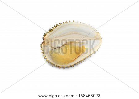 fresh durian ripe yellow meat tropical fruit on white background