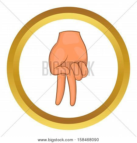 Baseball catcher gesture vector icon in golden circle, cartoon style isolated on white background