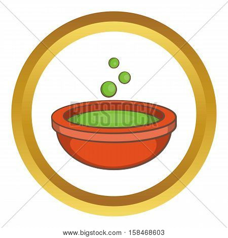 Halloween green potion and bubbles vector icon in golden circle, cartoon style isolated on white background