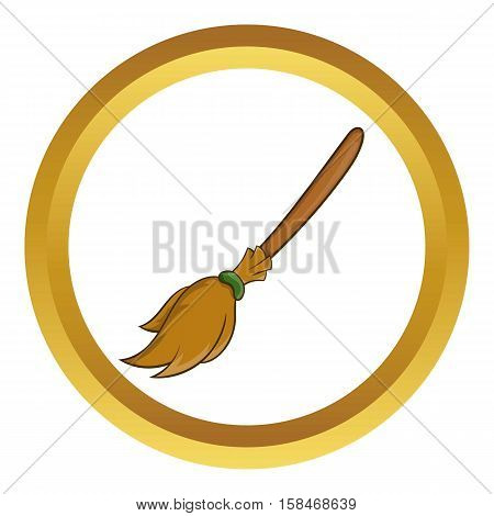 Halloween accessory broom vector icon in golden circle, cartoon style isolated on white background