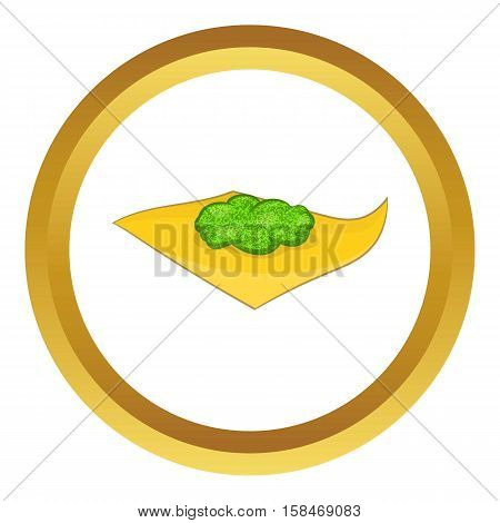 Marijuana on a paper vector icon in golden circle, cartoon style isolated on white background