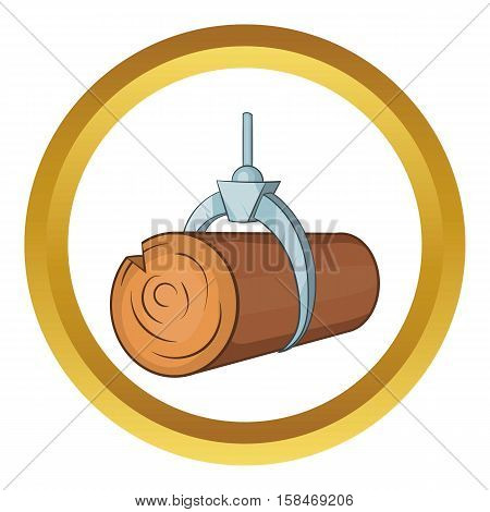 Hydraulic crane with log vector icon in golden circle, cartoon style isolated on white background