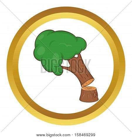 Felled tree vector icon in golden circle, cartoon style isolated on white background