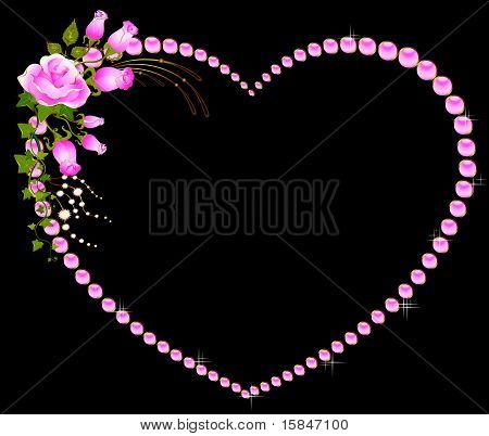 Beautiful rose bouquet located in the heart shape.