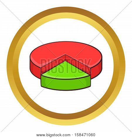 Pie chart infographic vector icon in golden circle, cartoon style isolated on white background
