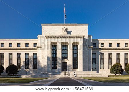 Federal Reserve Building Washington DC USA. Business and financial concept.