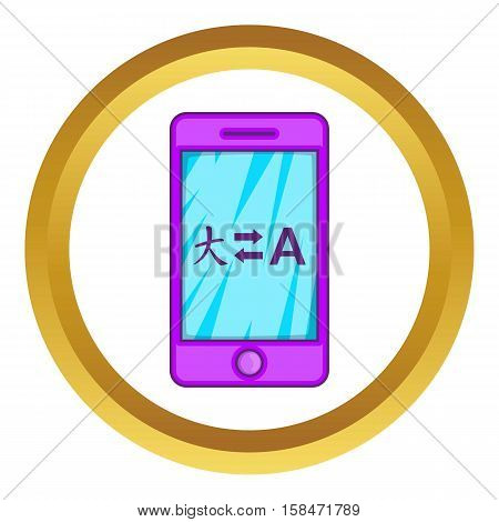 Mobile app with translator vector icon in golden circle, cartoon style isolated on white background