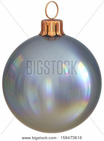 Christmas ball New Year's Eve bauble silver decoration shiny wintertime hanging adornment sphere souvenir white. Traditional ornament happy winter holidays Merry Xmas symbol closeup. 3d illustration