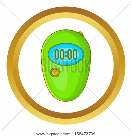 Stopwatch vector icon in golden circle, cartoon style isolated on white background