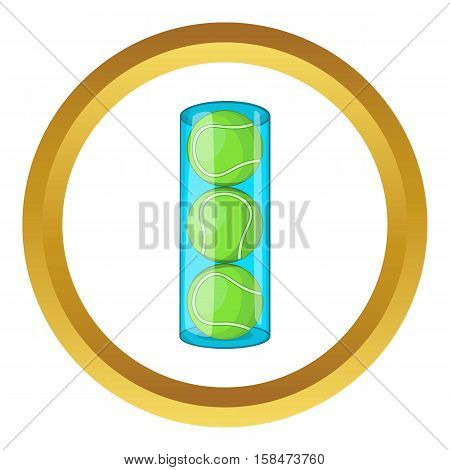 Packaging of tennis balls vector icon in golden circle, cartoon style isolated on white background