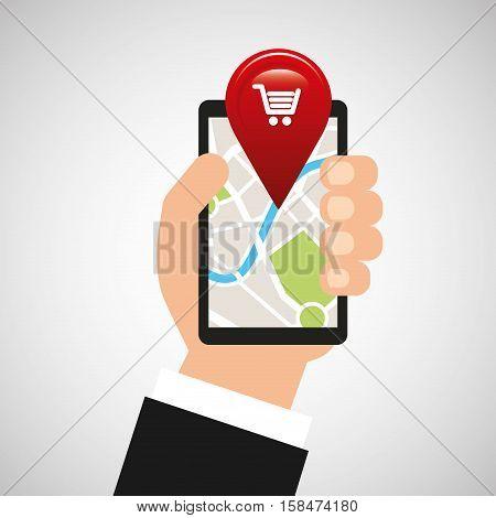 hand holds phone navigation app market vector illustration eps 10