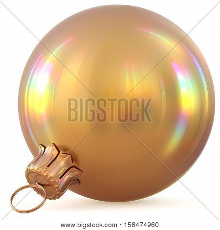 Christmas ball golden New Years Eve decoration gold bauble wintertime hanging adornment souvenir. Traditional ornament happy winter holidays Happy Merry Xmas symbol blank shiny yellow. 3d illustration