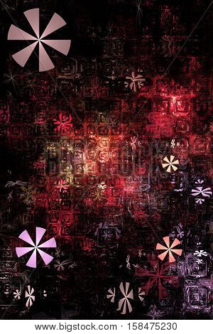 Industrial Background. Fantasy Fractal Texture In Bloody Red, Pink And Black Colors. Digital Art. 3D