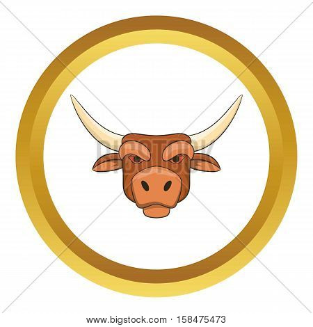 Head of bull vector icon in golden circle, cartoon style isolated on white background