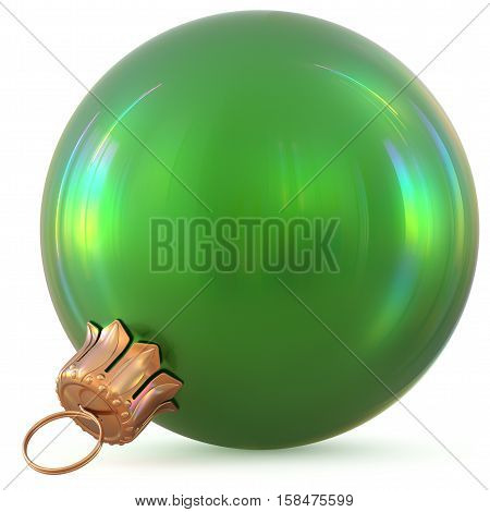 Christmas ball green New Year's Eve decoration bauble wintertime hanging adornment souvenir. Traditional ornament happy winter holidays Happy Merry Xmas symbol blank shiny classic. 3d illustration