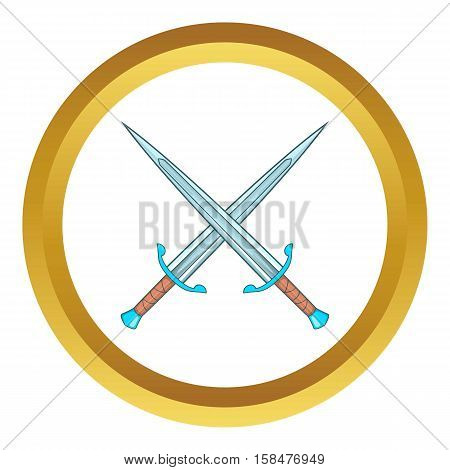 Crossed swords vector icon in golden circle, cartoon style isolated on white background