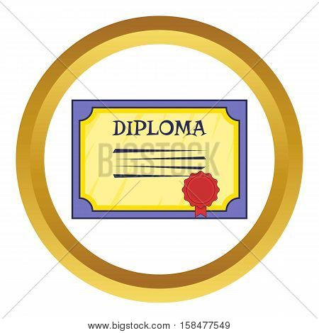 Diploma vector icon in golden circle, cartoon style isolated on white background