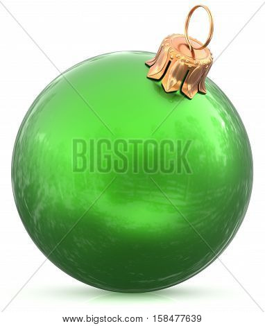 Christmas ball bauble New Year's Eve green decoration hanging sphere shiny wintertime adornment souvenir. Traditional ornament happy winter holidays Merry Xmas symbol closeup. 3d illustration isolated