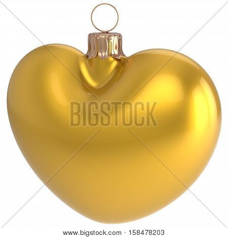 Christmas ball yellow heart shaped New Year's Eve bauble adornment decoration golden blank. Happy Merry Xmas traditional wintertime holidays ornament love greeting card design element. 3d illustration