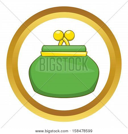 Purse vector icon in golden circle, cartoon style isolated on white background