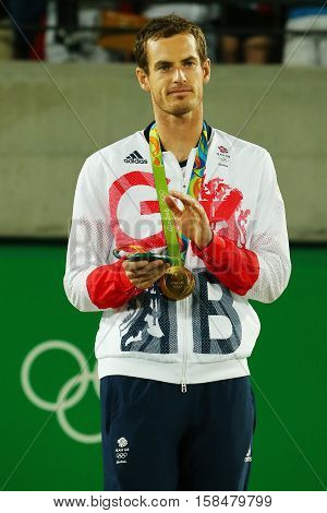 RIO DE JANEIRO, BRAZIL - AUGUST 14, 2016: Olympic champion Andy Murray of Great Britain during tennis men's singles medal ceremony of the Rio 2016 Olympic Games at the Olympic Tennis Centre