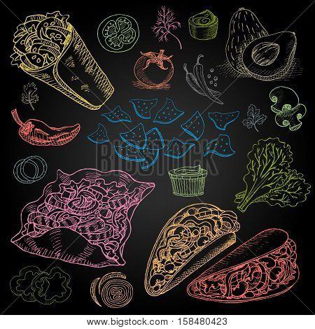 Set of color chalk drawn on a blackboard, food, spices Hand drawn, sketch vector illustration Mexican food Taco, burrito, ingredients, mushrooms, tomato, pepper, onion, salad