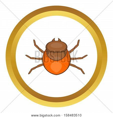 Tick vector icon in golden circle, cartoon style isolated on white background