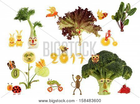 Creative food concept. Fabulous country made of fruits and vegetables.